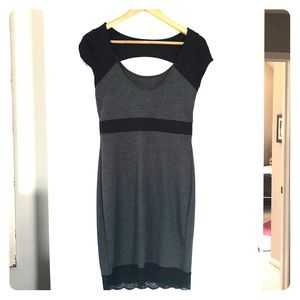 Grey/Black fitted dress w lace